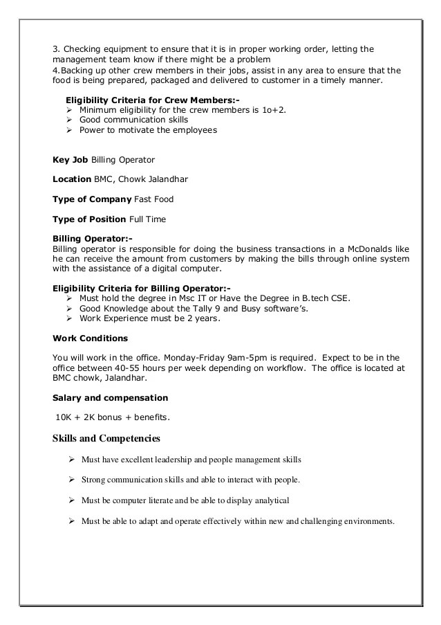 Job Description For Drive Thru Cashier | Professional Resume For