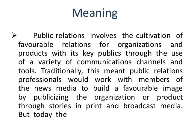 Meaning and definition of public relation