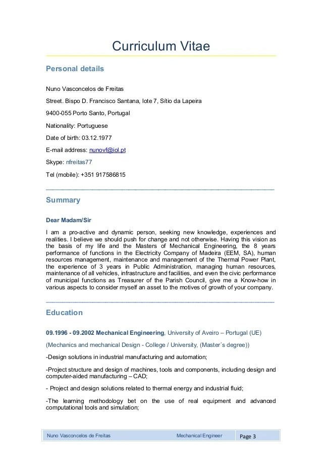 Mechanical estimation engineer sample resume