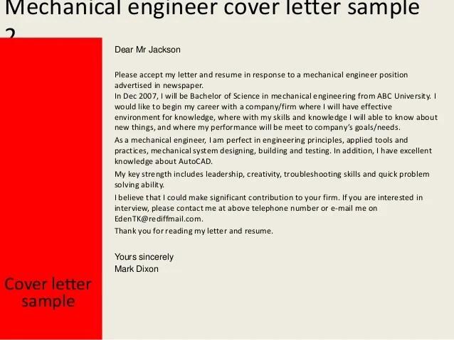 Mechanical Engineer Cover Letter Sample Monster Mechanical Engineer Cover Letter