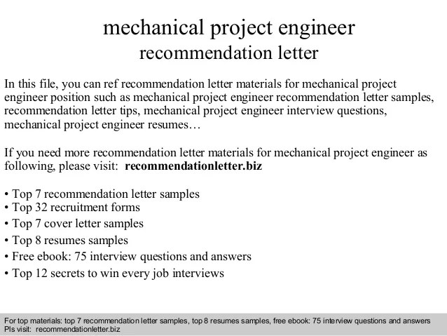Professional Mechanical Engineer Cv Example Mechanical Project Engineer Recommendation Letter