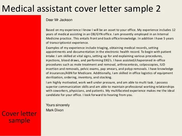 medical office assistant cover letter