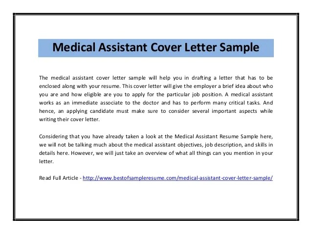 Cover letter medicine sample