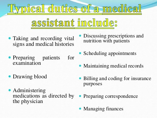 duties of a medical assistant