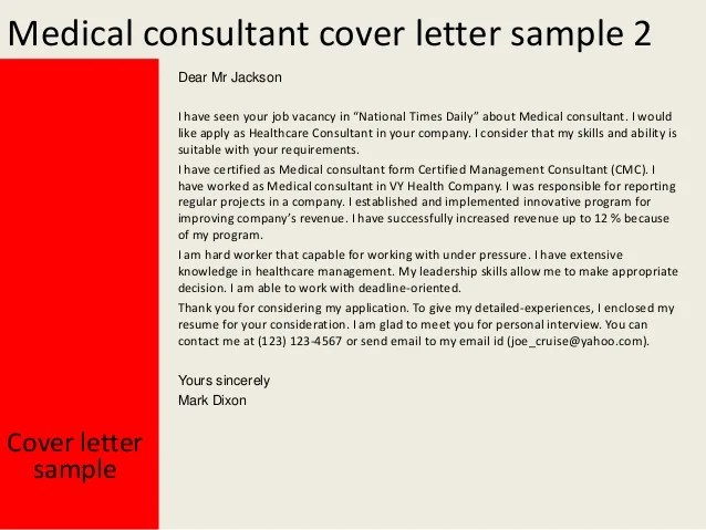 Resume Cover Letter Examples Get Free Sample Cover Letters Medical Consultant Cover Letter
