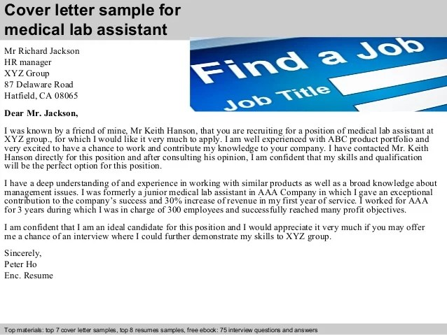 medical laboratory assistant cover letter - Alannoscrapleftbehind