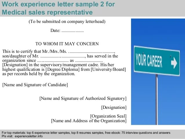 To Whom It May Concern Cover Letter Salutations Medical Sales Representative Experience Letter