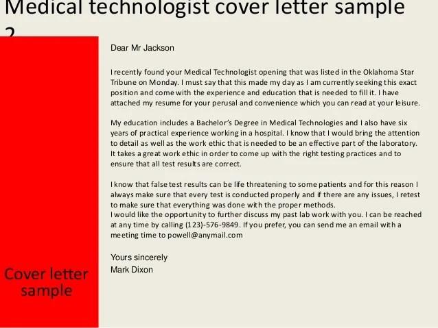 sample cover letter for medical technologist resume