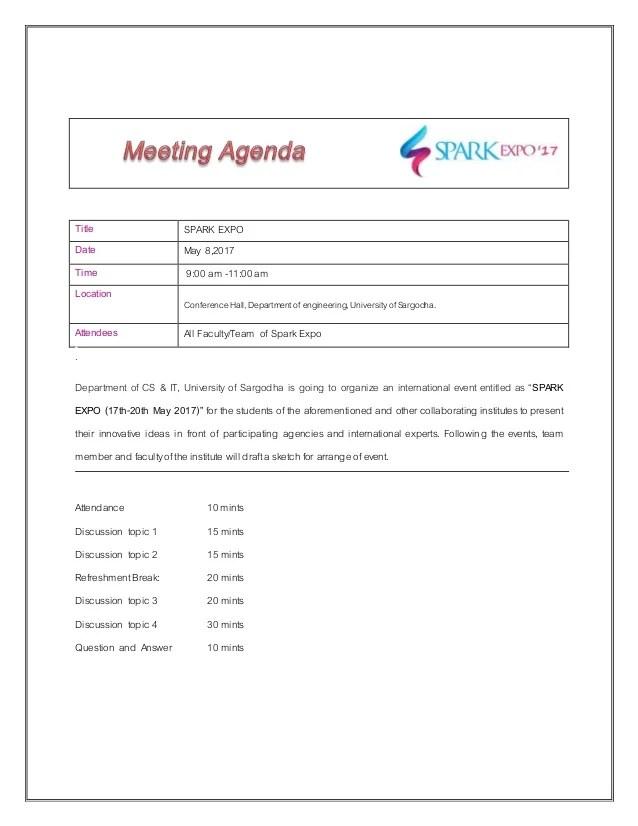 how to write a agenda