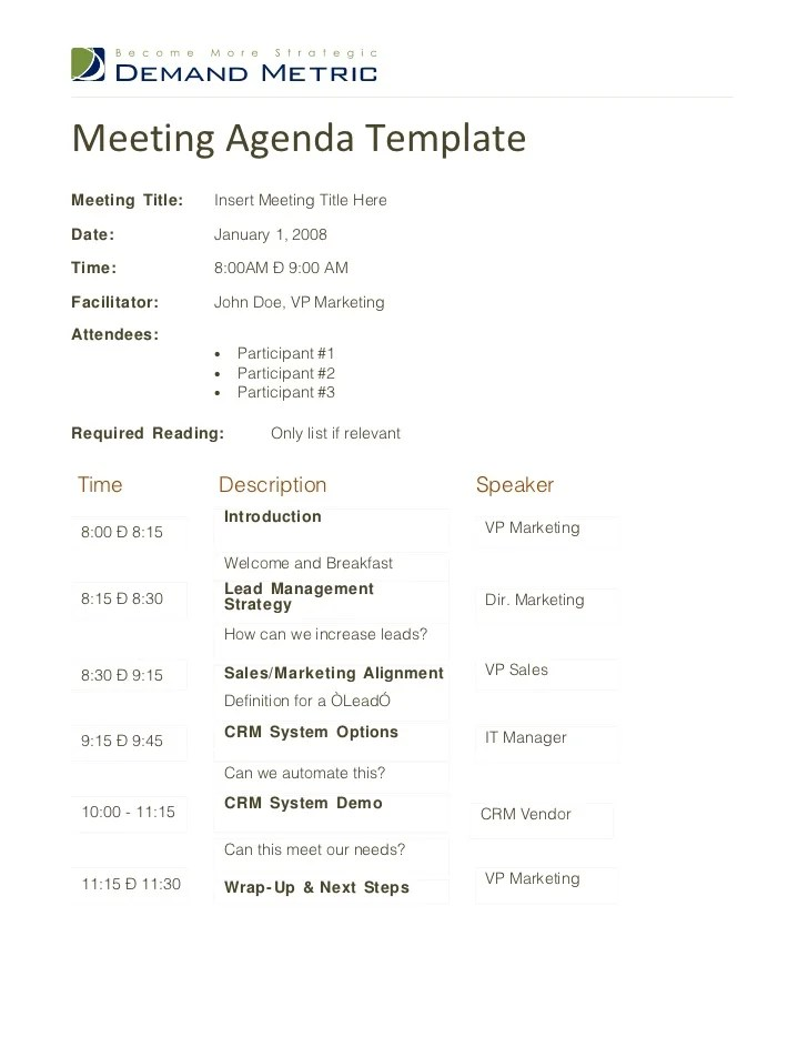 Meeting Agenda Layout Examples