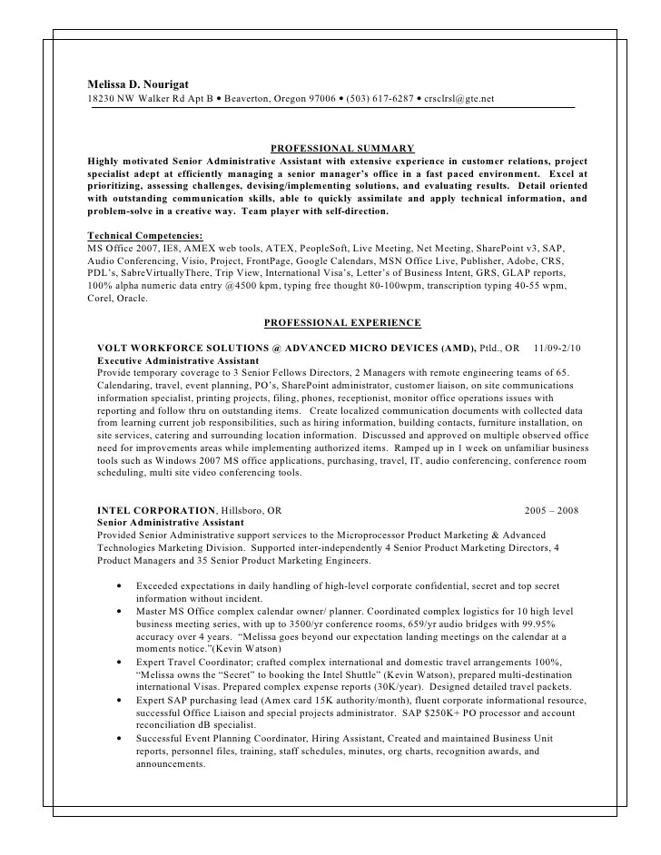 professional summary administrative assistant - Alan