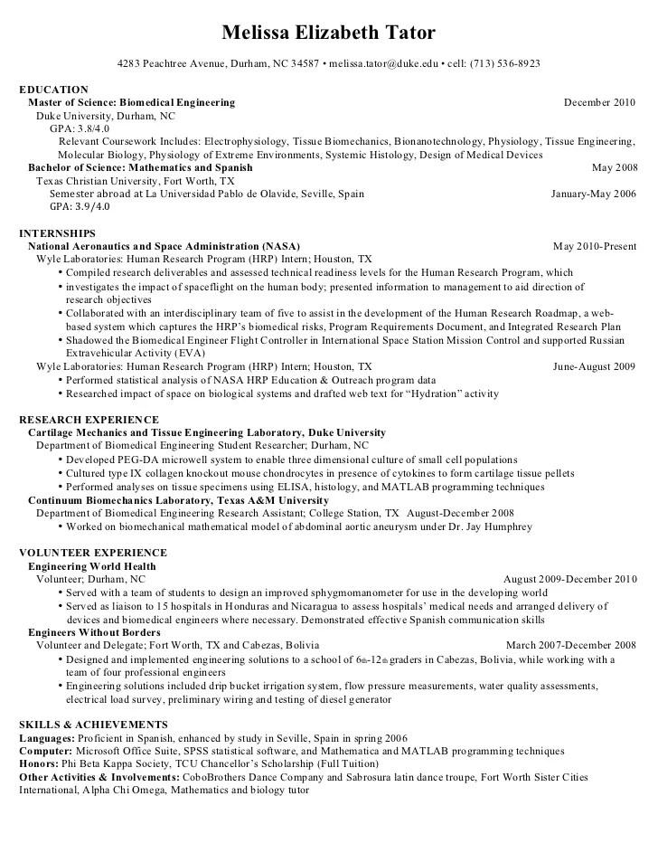 biomedical engineer resumes - Onwebioinnovate