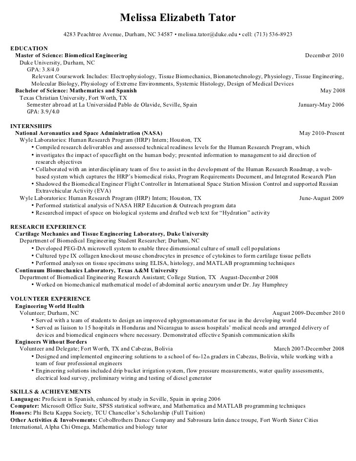 sample resume for biomedical engineer - Konipolycode