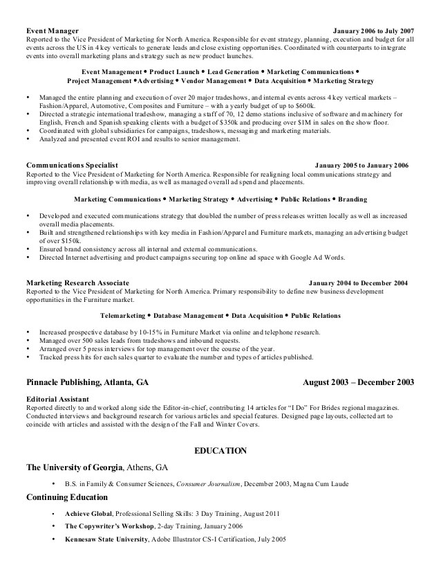 Famous Fashion Marketing And Management Resume Component