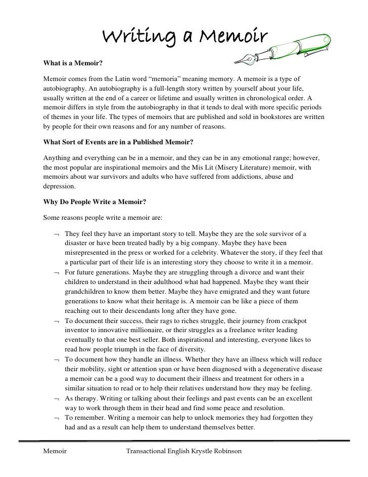 example memoir essay