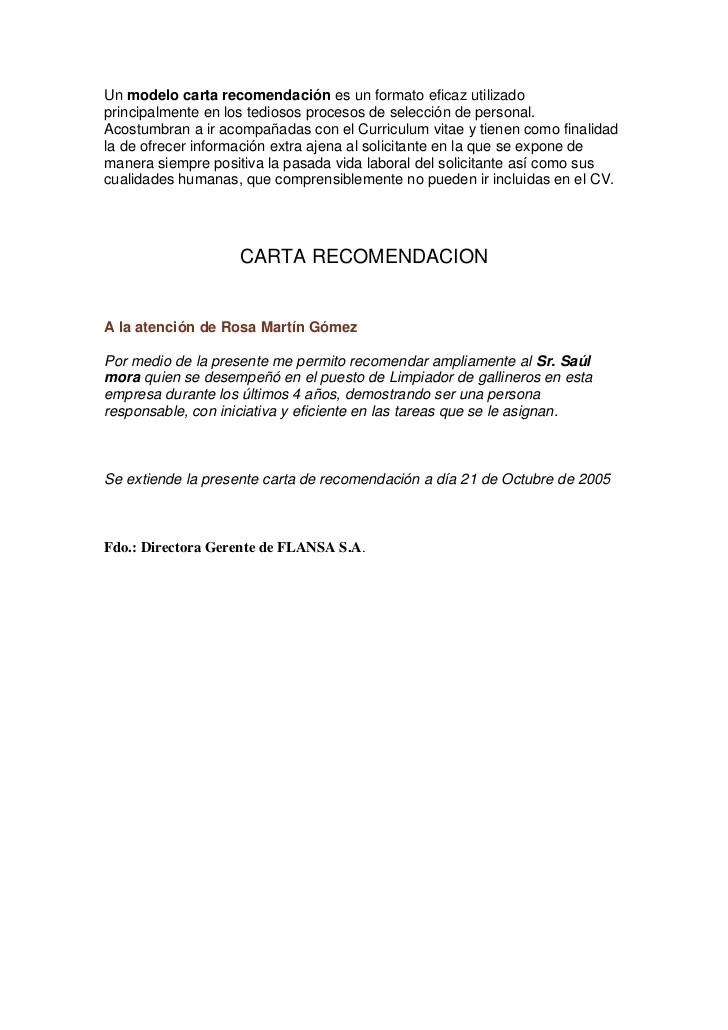 Modelo De Carta Recomendacion MODELO DE CARTA DE RECOMENDACION