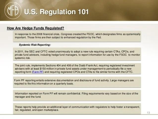 U.S. Regulation 101: Guide to U.S. Oversight of the Hedge Fund Indust…