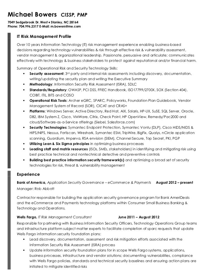 risk management resume - Goalgoodwinmetals - Sample Risk Management Resume