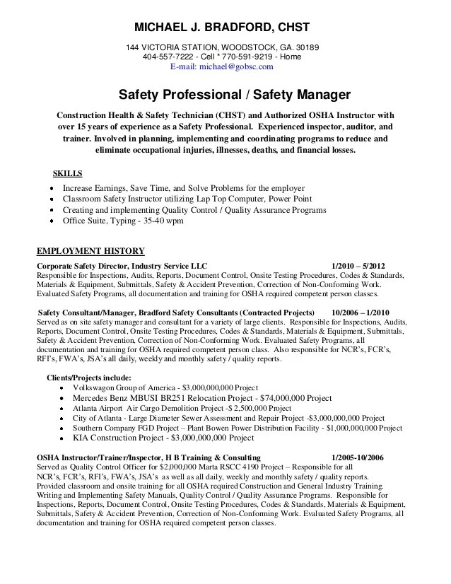 Safety Consultant Resume Examples – Safety Director Job Description