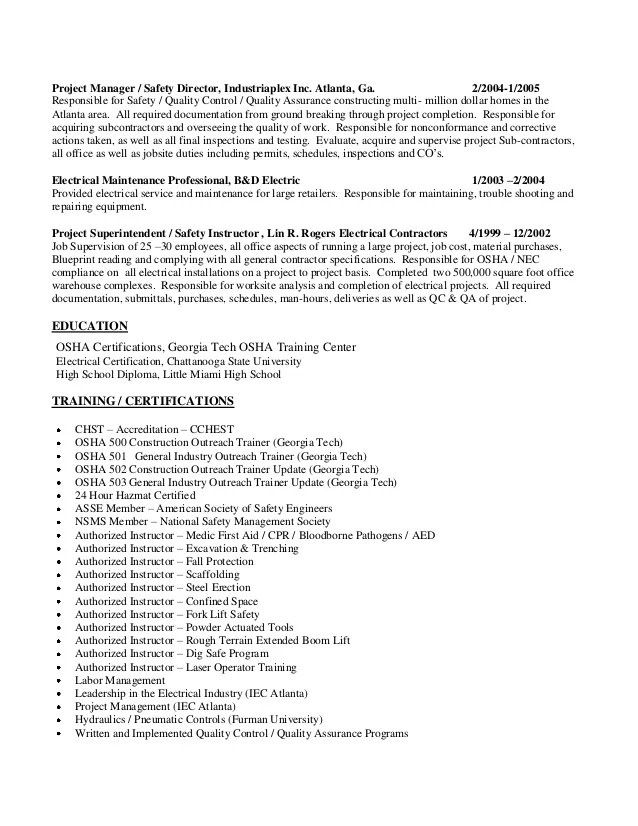 certified safety professional resume