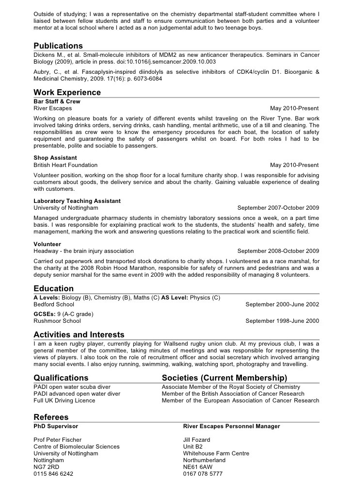 Student Cv Template Example For Students 2010 Chemistry Cv