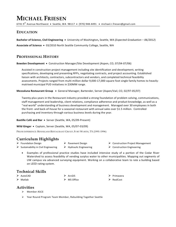 Professional Resume Examples Samples Of Great Resumes Michael Friesen Resume