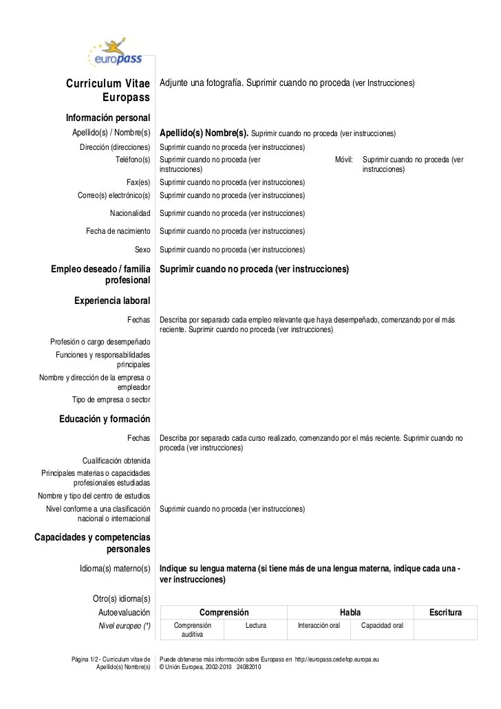 Warsaw University Of Life Sciences Wuls Sggw Modelo Europass Cv Template Eses