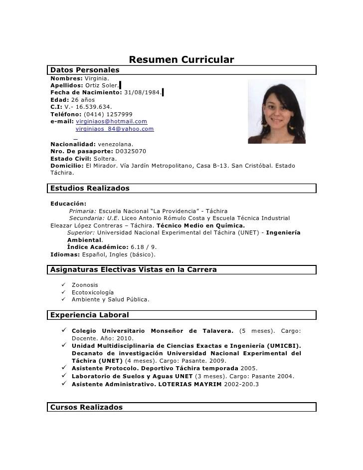 Formato De Resumen Curricular Para Rellenar   Sample Document Resumes