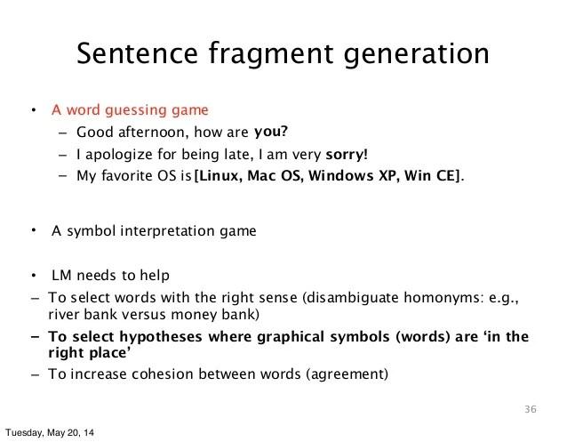 sentence versus fragment