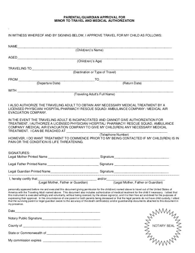 travel permission form - Boatjeremyeaton - parental consent form