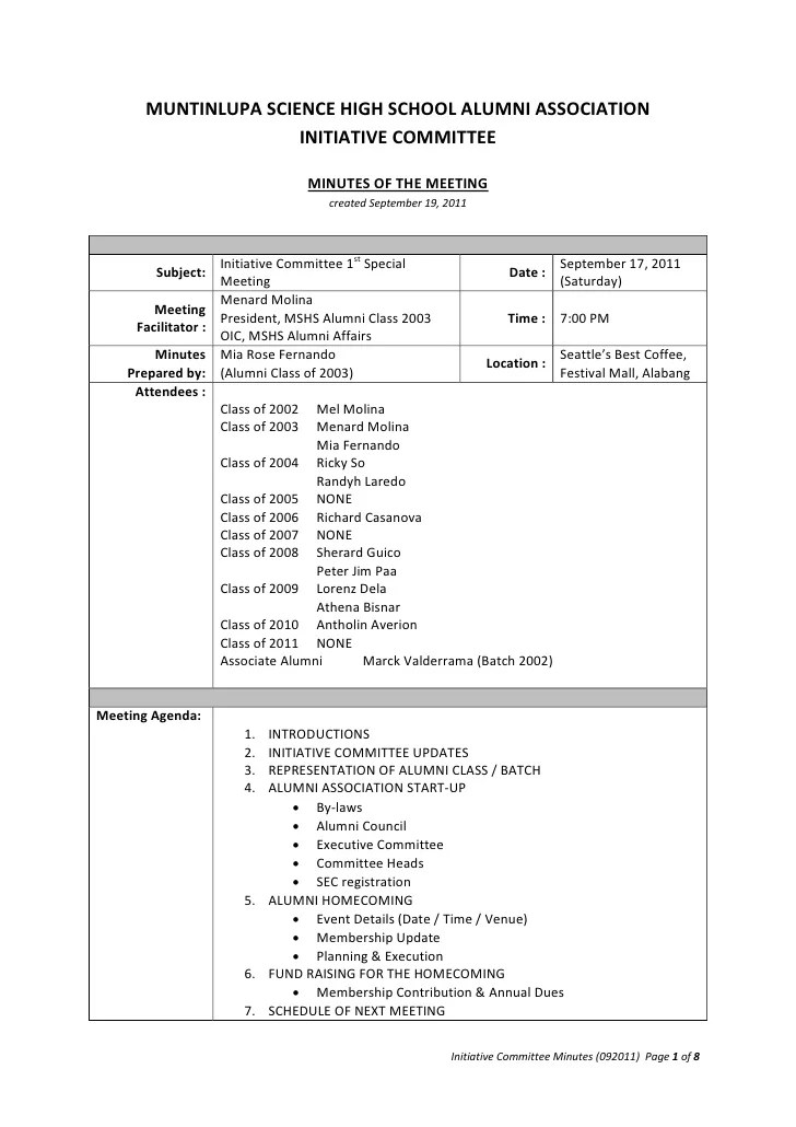 committee minutes template