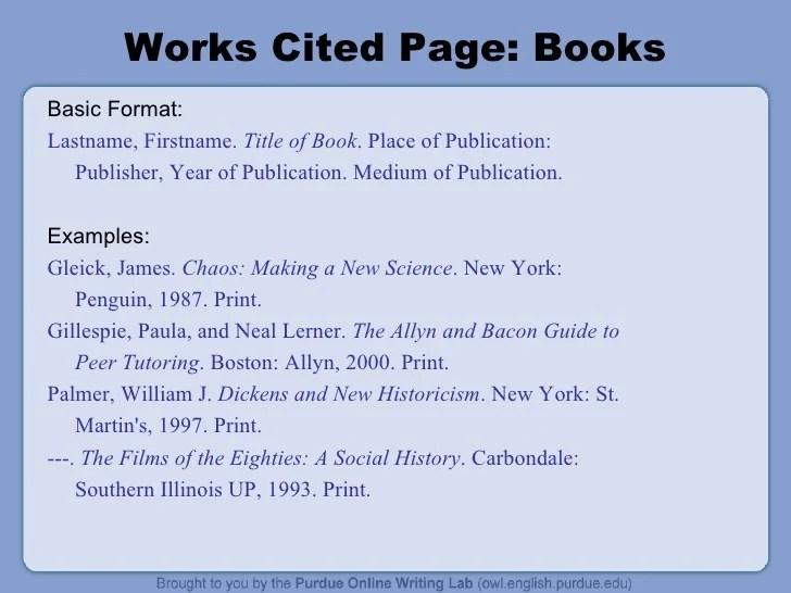 works cited page book - Aylaquiztrivia