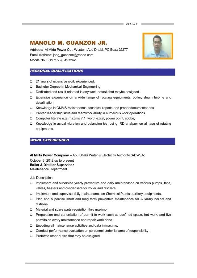 resume for maintenance job - Onwebioinnovate - maintenance duties resumes