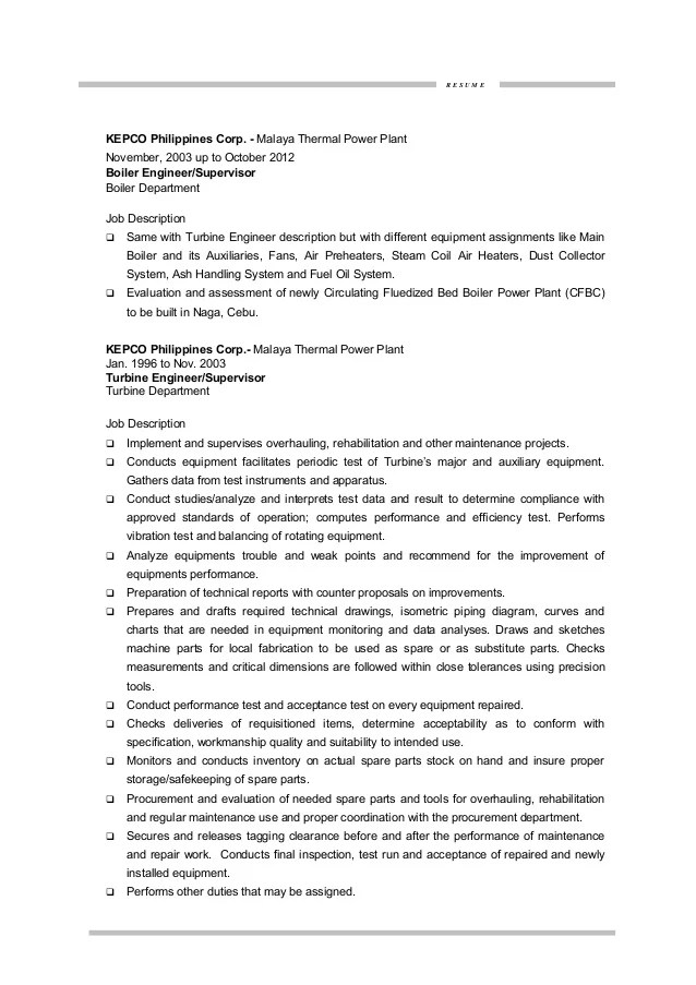 nuclear power resume sample