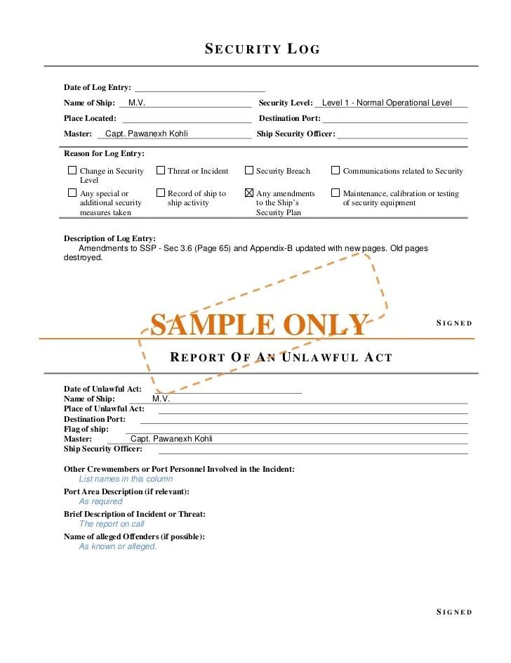 vessel incident report example - Kenicandlecomfortzone - shipboard security guard sample resume