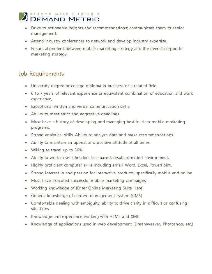 marketing director job description - Ozilalmanoof - director of marketing job description