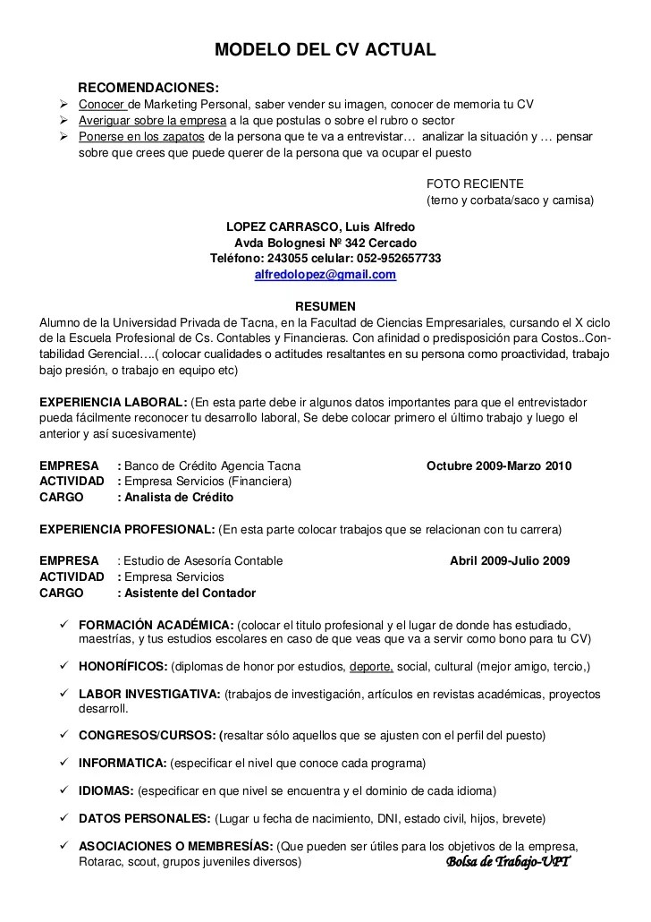 Modelo De Curriculum Vitae En Word Actualizado Sample Document Resumes