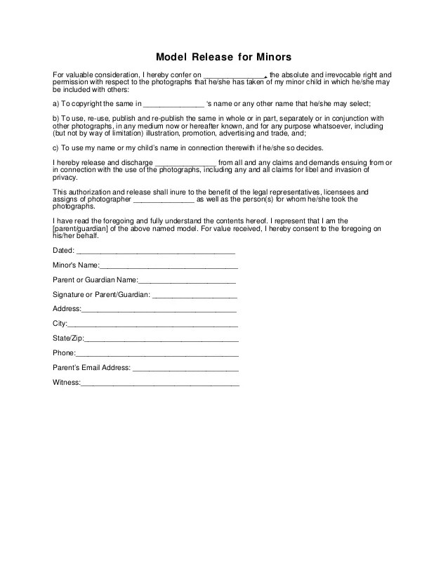 photo release form for minors - Trisamoorddiner