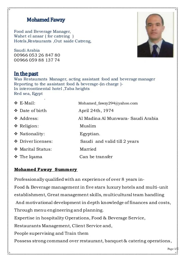 Manager Resume Samples And Writing Tips Best Sample Resume Hotel Operation Manager Restaurantsandout Said Catering