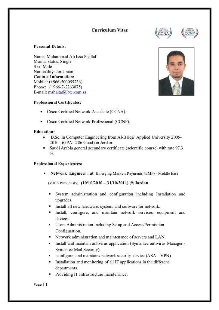 Ccna Resume Example Good Resume Template