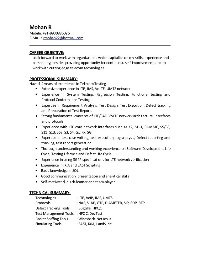 telecom testing resume sample
