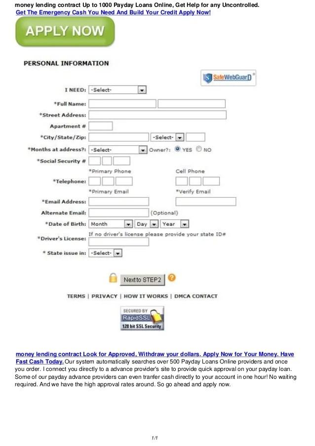 Money Lending Contract Template – Money Lending Contract Template
