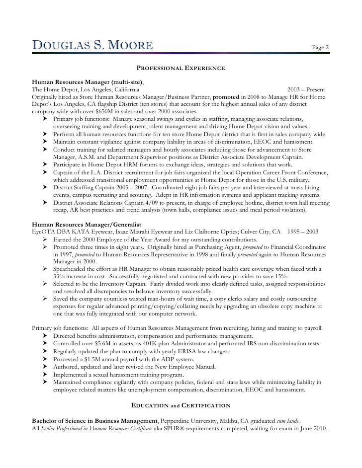 Sample Resume For Director Of Human Resources