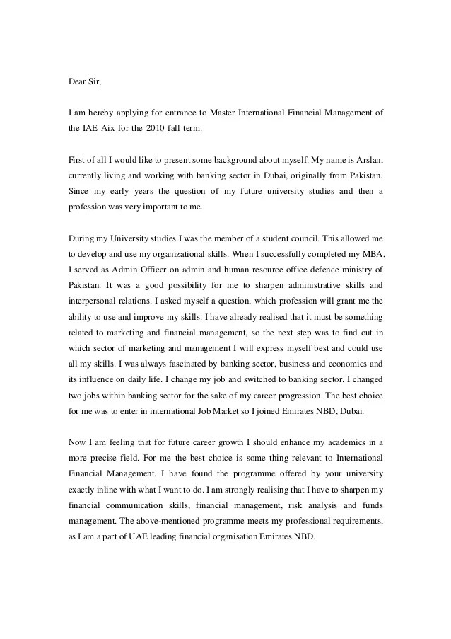Motivation Letter To Study Master Degree Cover Letter
