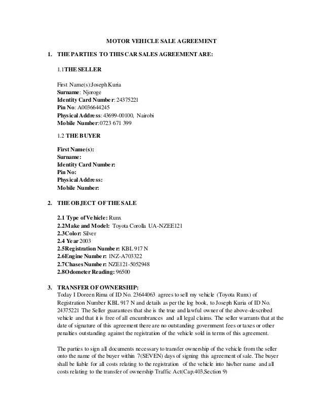 motor vehicle sale agreement form kenya - Canasbergdorfbib