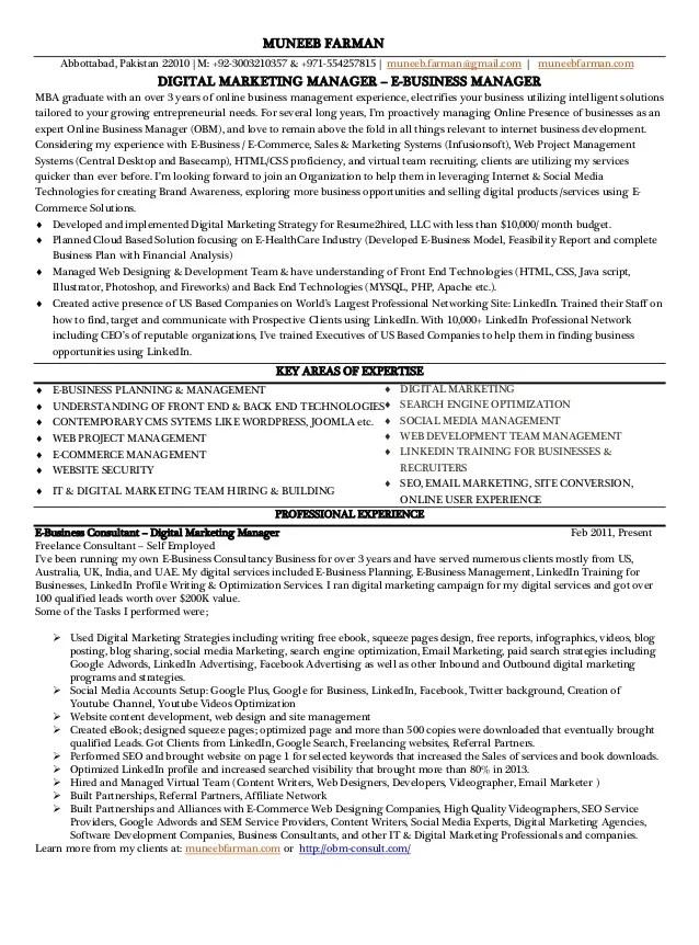 resume of marketing manager - Minimfagency