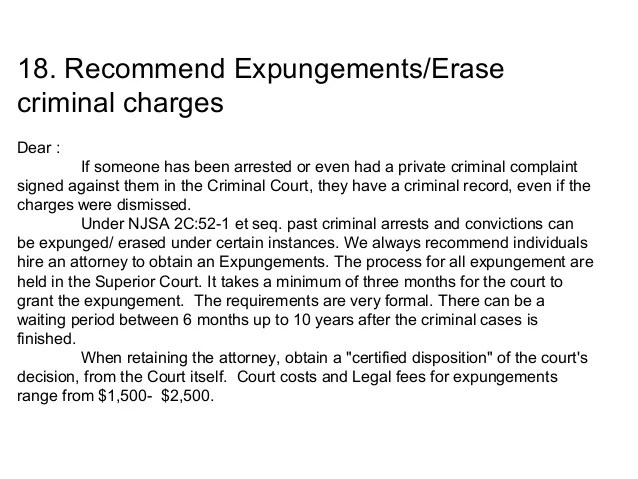 expungement letter of recommendation