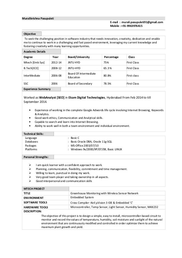sql fresher resume sample