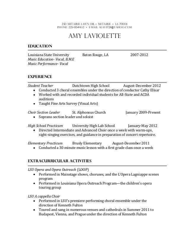 Sample Resume For High School Students Music Education Resume