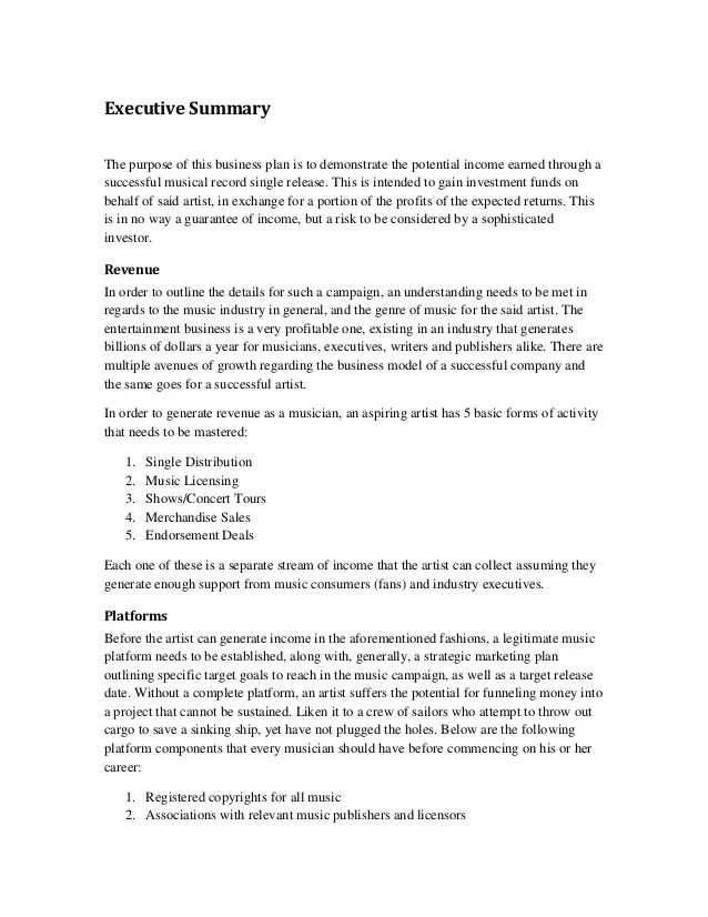 Project Executive Summary Template Business Summary